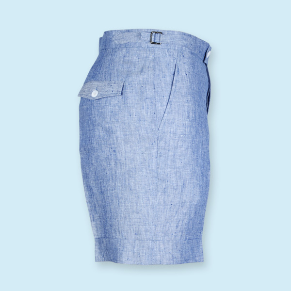 Cape May Slub Blue Linen Shorts-mbview-4
