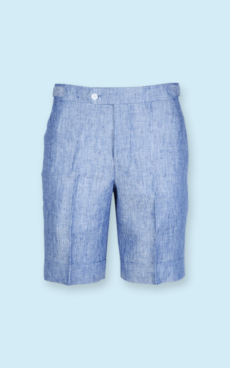 Cape May Slub Blue Linen Shorts