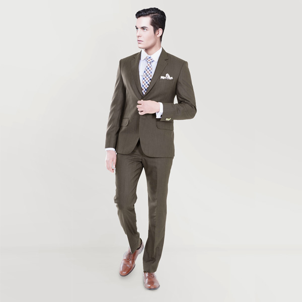Coffee Brown Herringbone Custom Suit-mbview-1