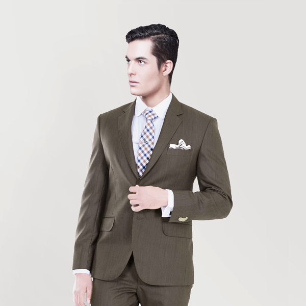 Coffee Brown Herringbone Custom Suit-mbview-2