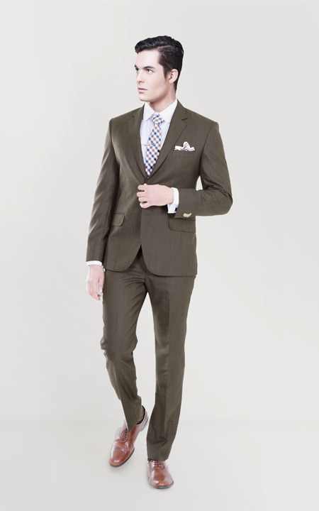 Coffee Brown Herringbone Custom Suit