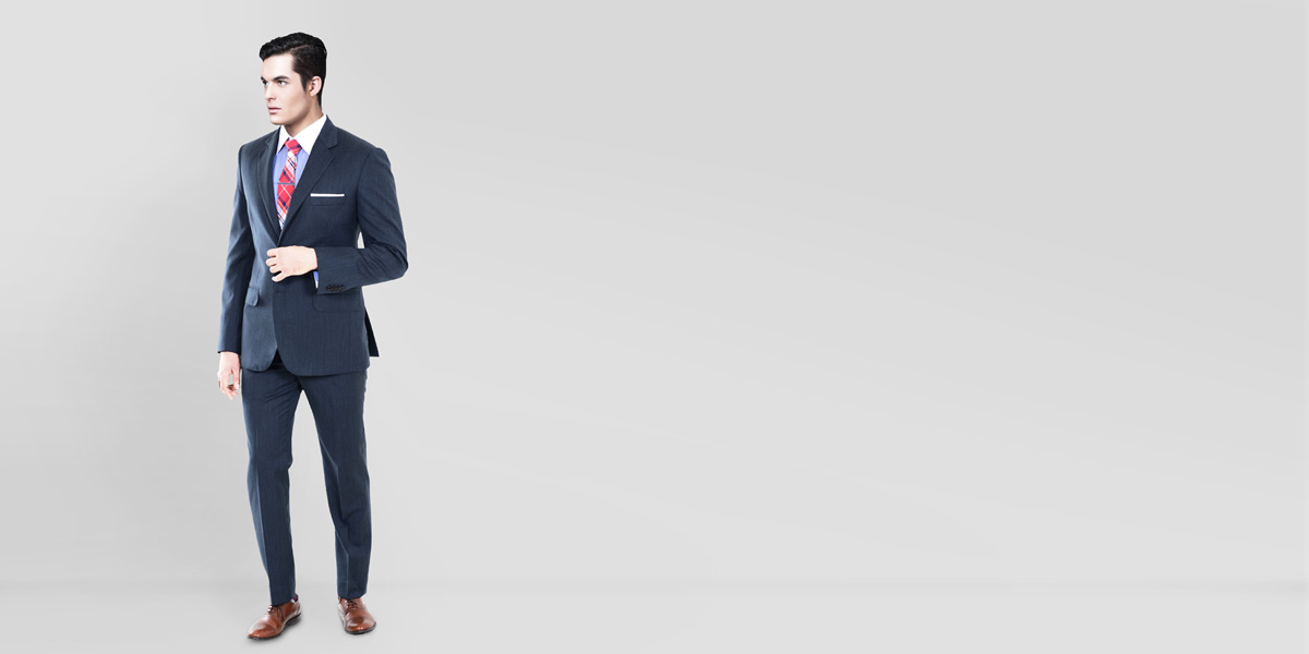 Blue Gray Herringbone Custom Suit- view-1