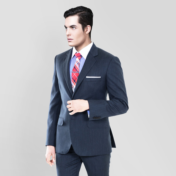 Blue Gray Herringbone Custom Suit-mbview-2