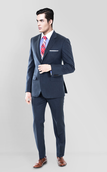 Blue Gray Herringbone Custom Suit