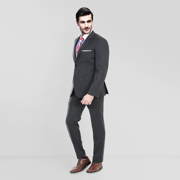 Charcoal Herringbone Custom Suit-mbview-1