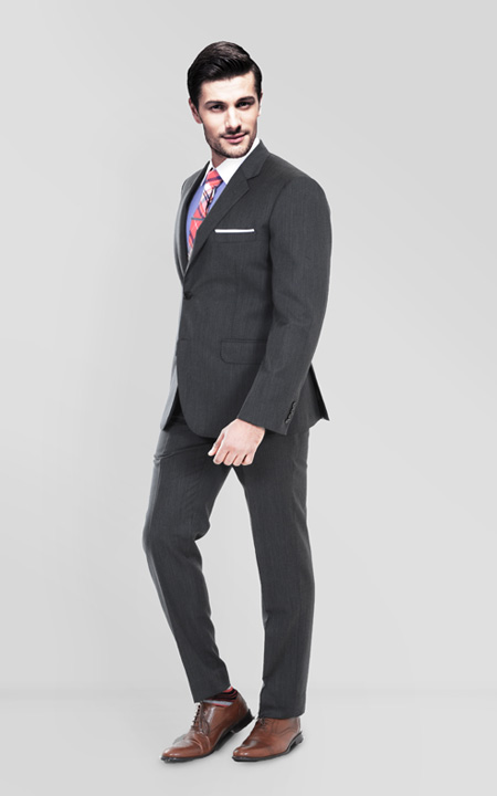 Charcoal Herringbone Custom Suit