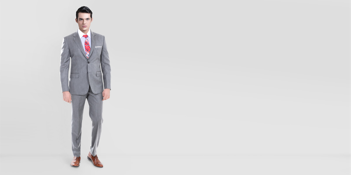 Gray Herringbone Custom Suit- view-1