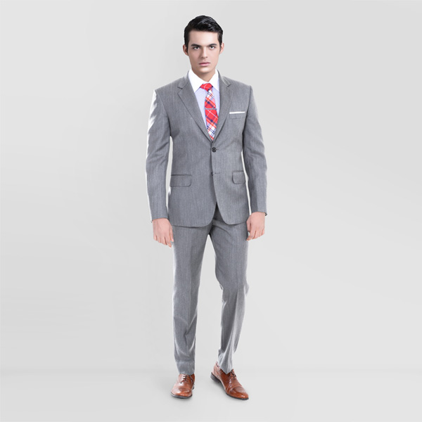 Gray Herringbone Custom Suit-mbview-1