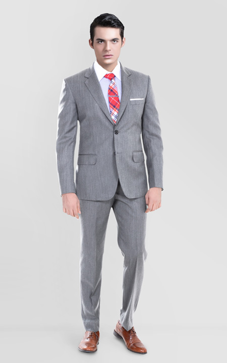 Gray Herringbone Custom Suit