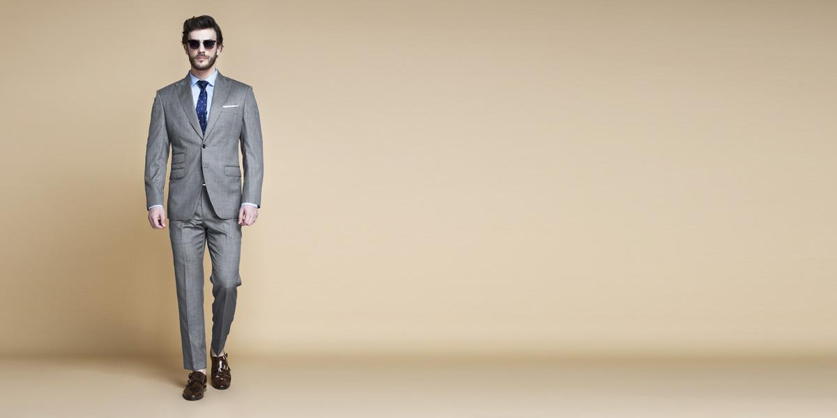 Milan Grey Nailhead Suit- view-1