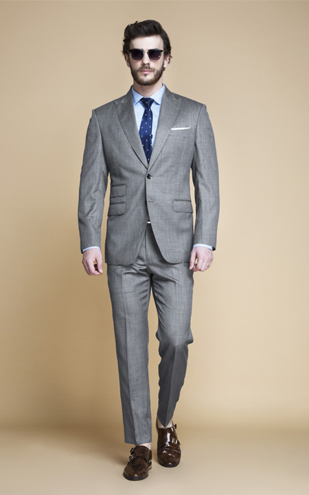Milan Grey Nailhead Suit