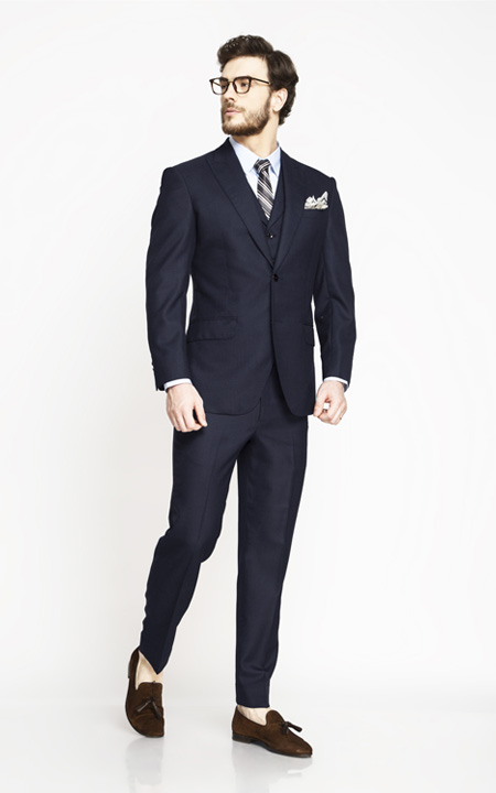 Moss Blue Birdseye Suit