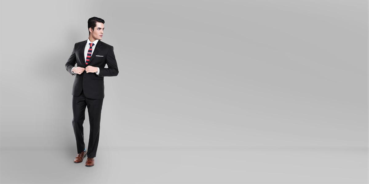 Black Classic Wool Custom Suit- view-1