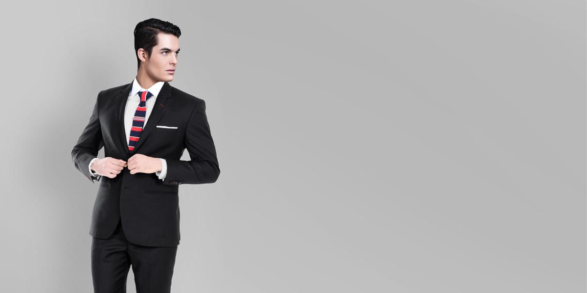 Black Classic Wool Custom Suit- view-2