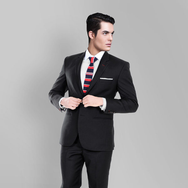 Black Classic Wool Custom Suit-mbview-2