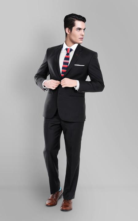 Black Classic Wool Custom Suit