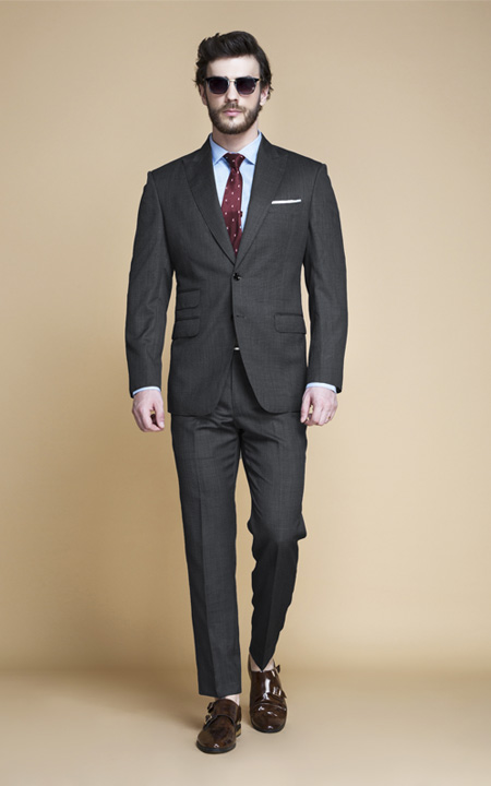 Hudson Charcoal Nailhead Suit