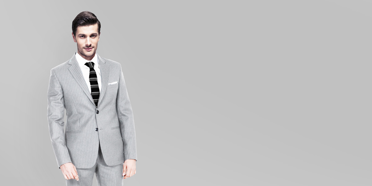 Light Grey Stripe Custom Suit- view-1