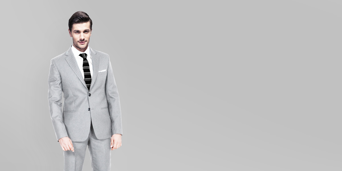 Light Grey Stripe Custom Suit- view-2
