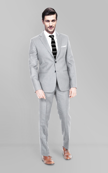 Light Grey Stripe Custom Suit