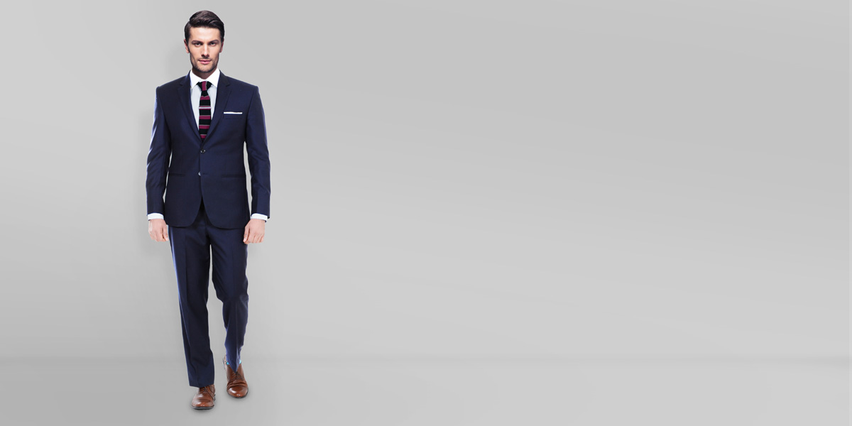 Sartorial Navy Herringbone Suit- view-1