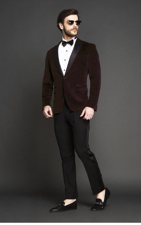 Statesman Maroon Velvet Tuxedo