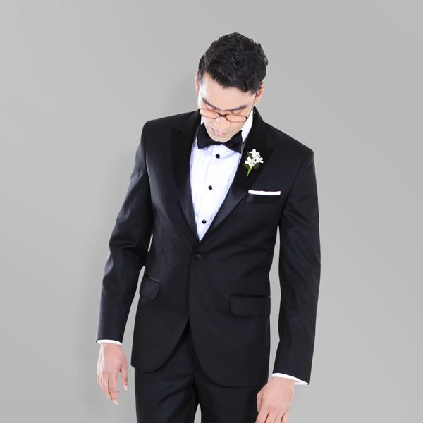 1c00f51137b842 Black Satin Lapel Tuxedo | Custom Made by A.I.