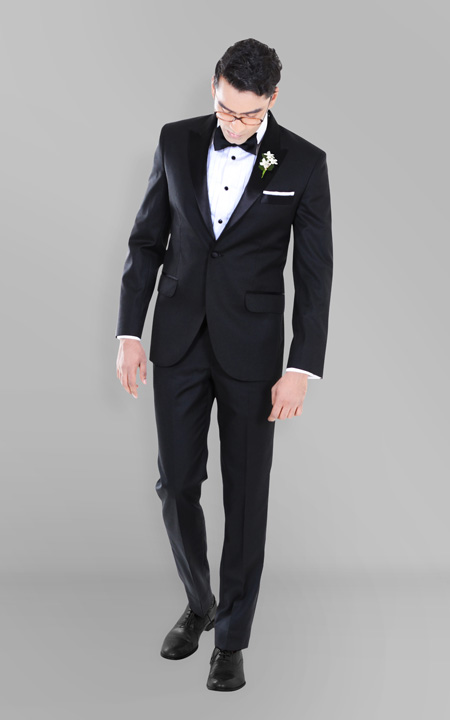 Black Satin Lapel Tuxedo