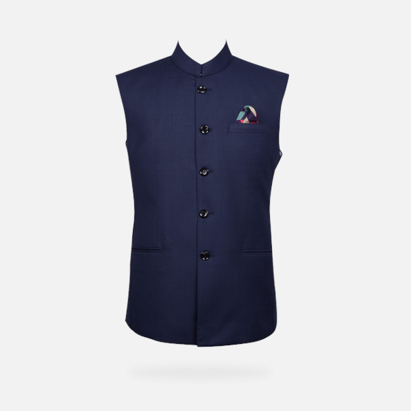 Navy Blue Bombay High Checks Bandi-mbview-1