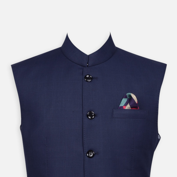 Navy Blue Bombay High Checks Bandi-mbview-3