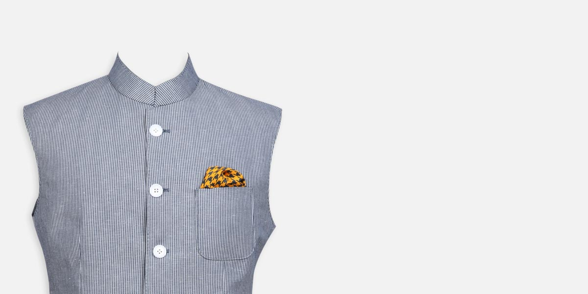Jodhpur Grey Striped Polo Jacket- view-3
