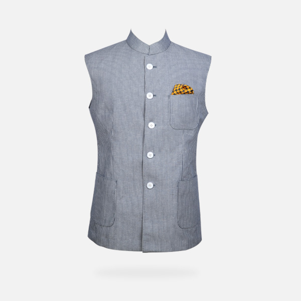 Jodhpur Grey Striped Polo Jacket-mbview-1