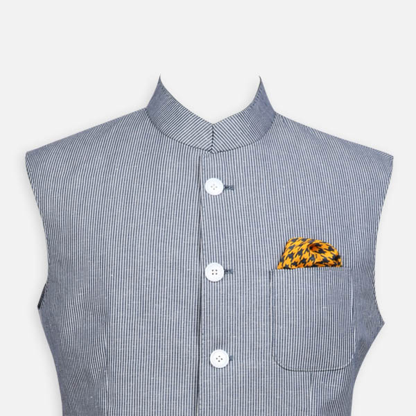 Jodhpur Grey Striped Polo Jacket-mbview-3