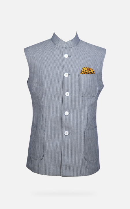 Jodhpur Grey Striped Polo Jacket