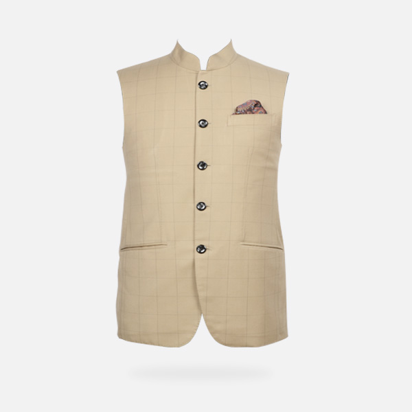 Jaipur Khaki Brown Checks Jacket-mbview-1