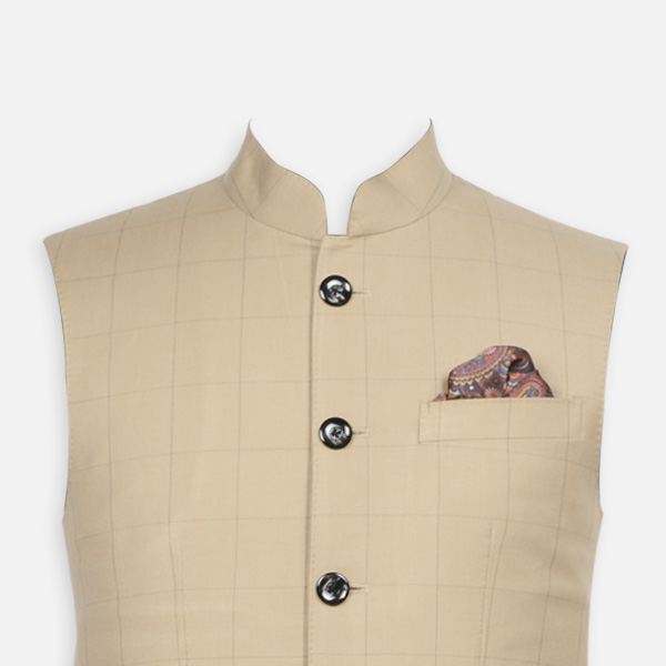 Jaipur Khaki Brown Checks Jacket-mbview-3