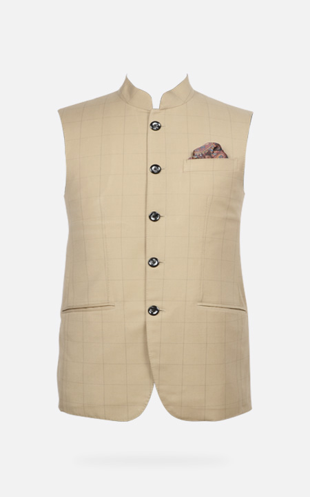 Jaipur Khaki Brown Checks Jacket