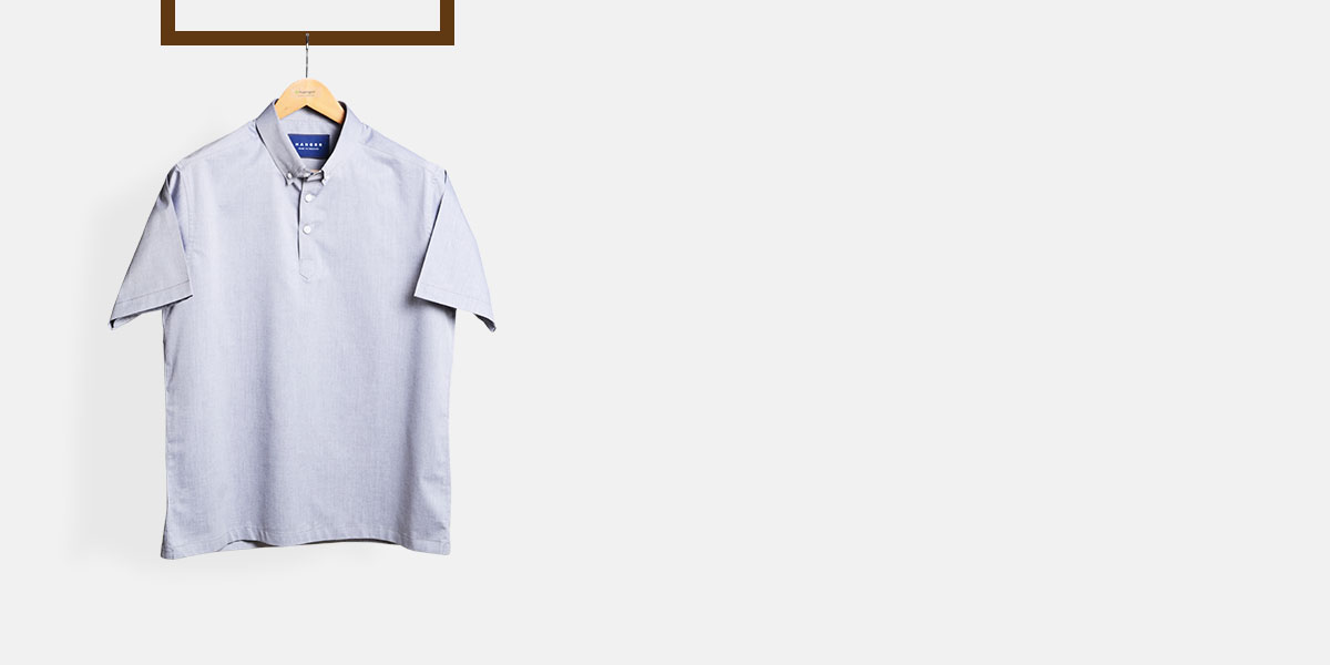 Grey Chambray Imperial Polo Shirt- view-1