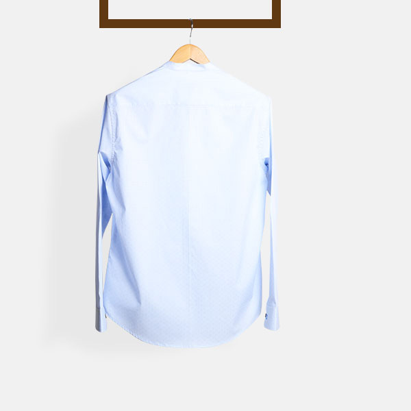 Blue Microcheck Embroidered Shirt-mbview-2