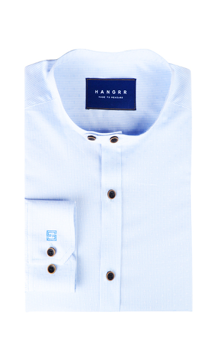 Blue Microcheck Embroidered Shirt