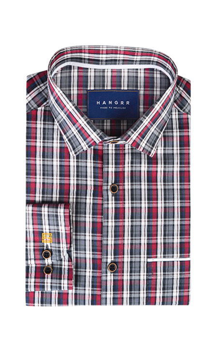 Maroon & Grey Tartan Checks Shirt