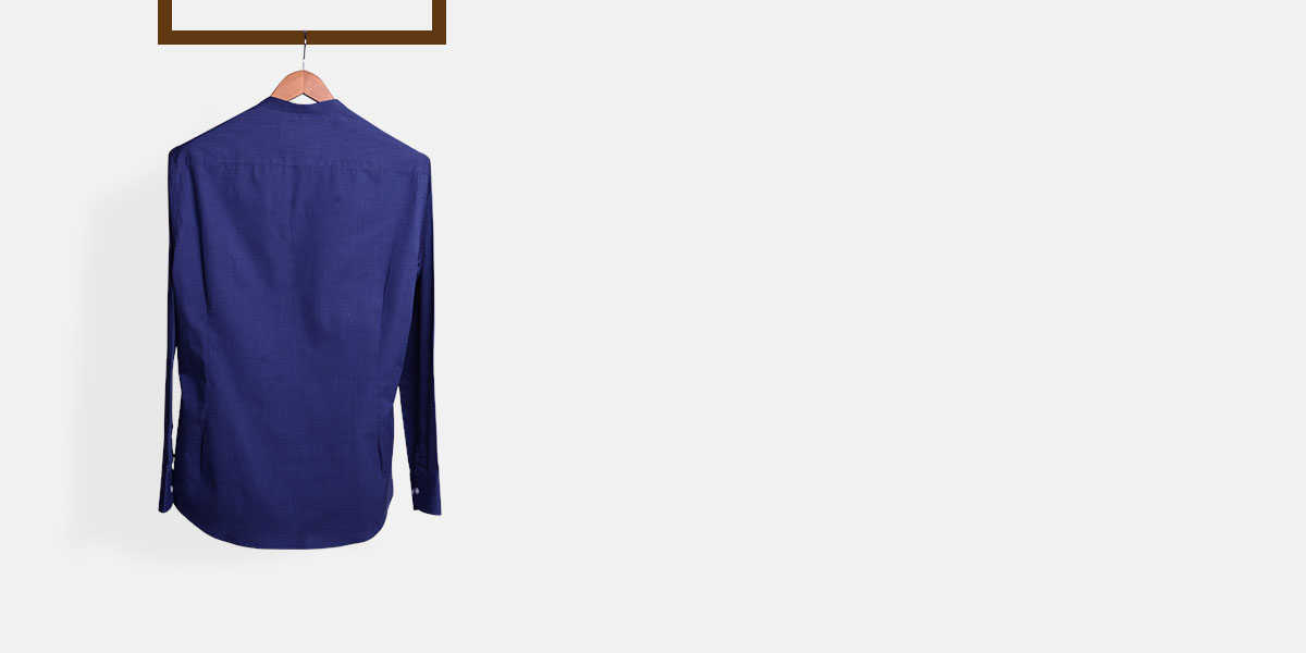 Royal Blue Fine Weave Henley Shirt- view-2