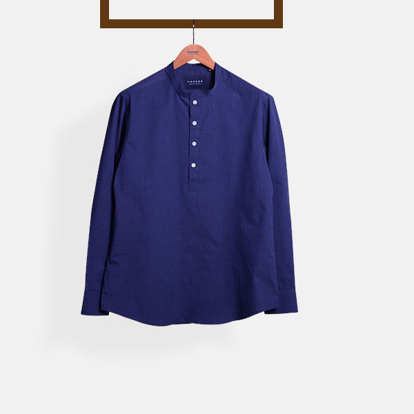 Royal Blue Fine Weave Henley Shirt-mbview-main