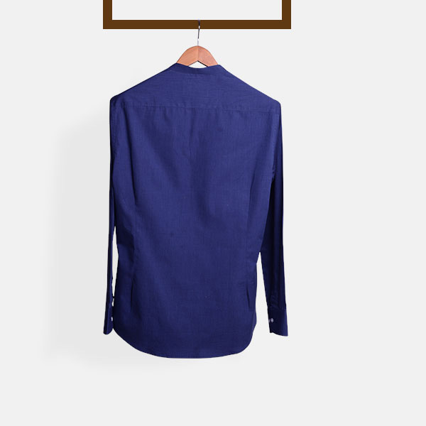 Royal Blue Fine Weave Henley Shirt-mbview-2