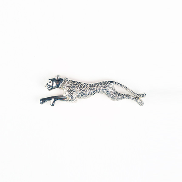 Leopard Silver-Tone Lapel Pin-mbview-1