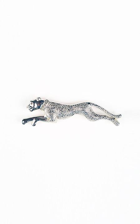 Leopard Silver-Tone Lapel Pin