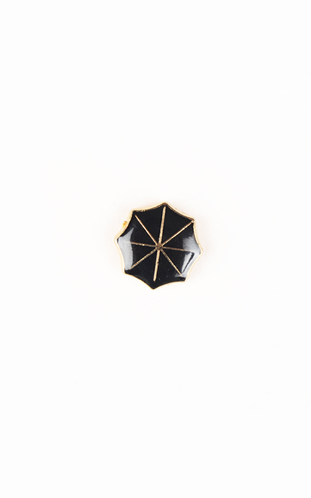 Black Umbrella Gold-Tone Lapel Pin