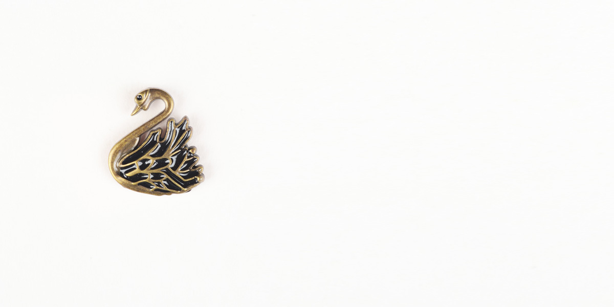 Swan Brass-Tone Lapel Pin- view-1