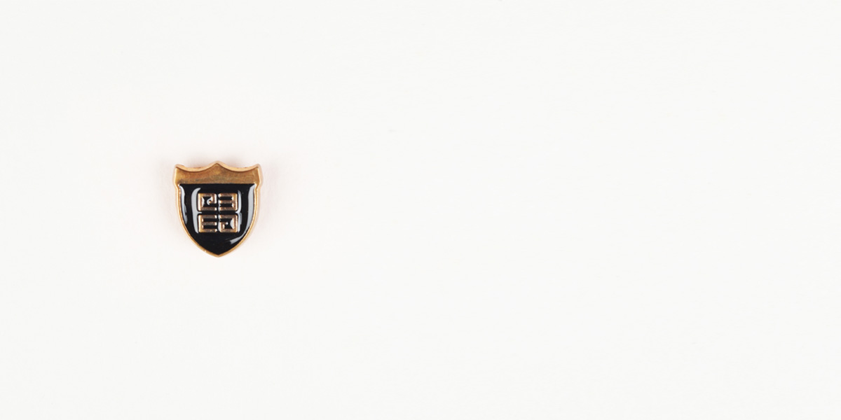 Crest Black And Gold-Tone Lapel Pin- view-1
