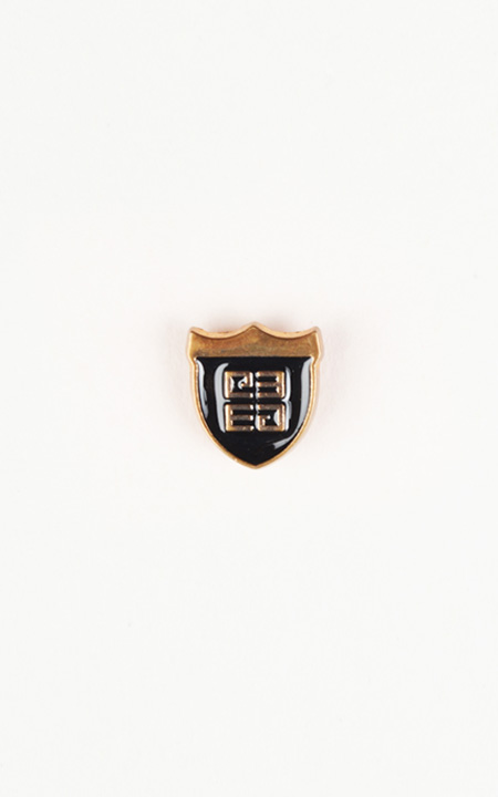 Crest Black and Gold-Tone Lapel Pin